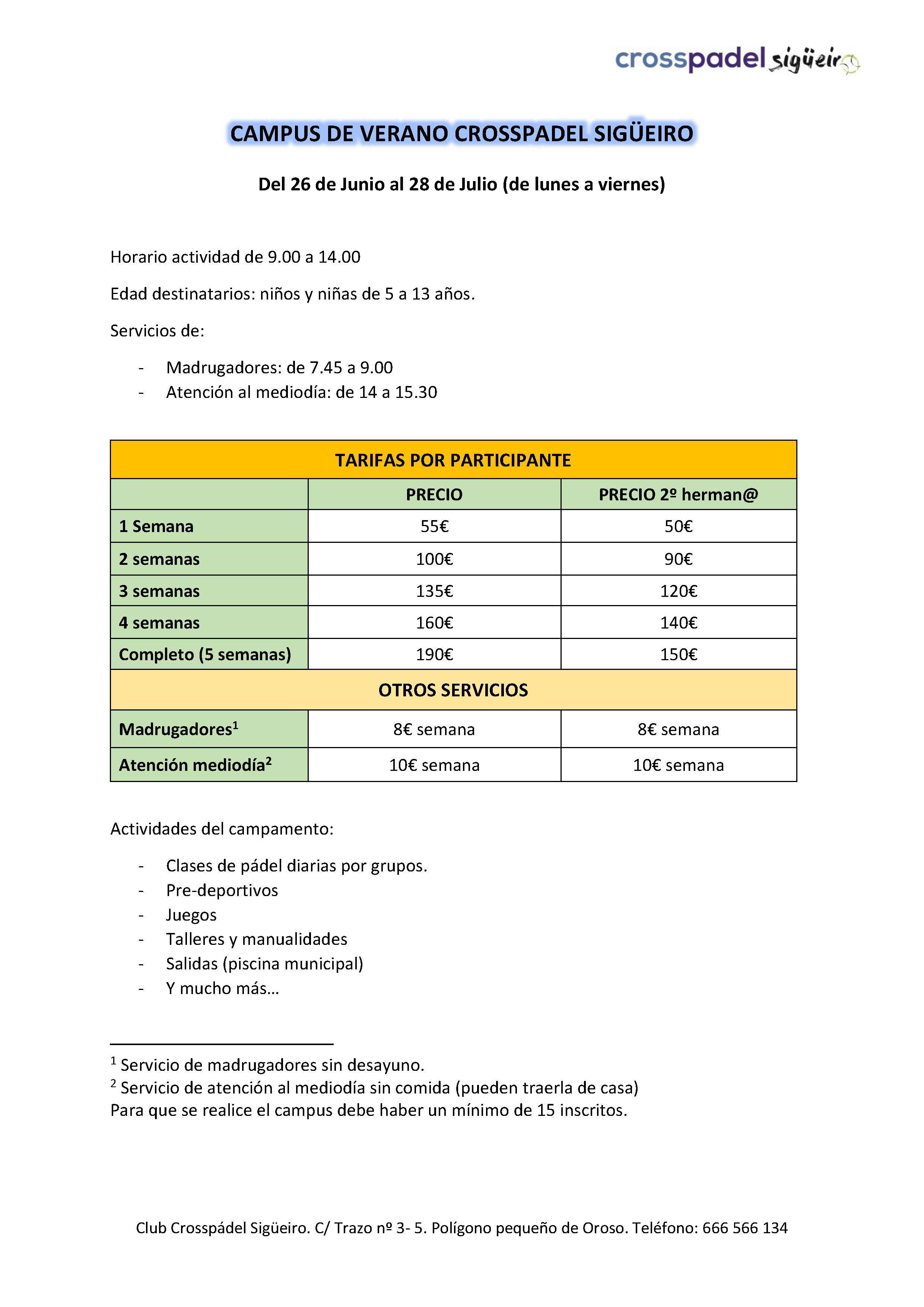 campus crosspadel sigueiro verano 2017 - tarifas
